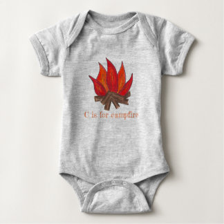 C is for Campfire Camp Fire Flames Logs Outdoor Baby Bodysuit
