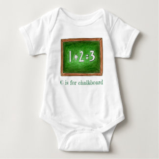 C is for Chalkboard Green School Slate Math ABCs Baby Bodysuit