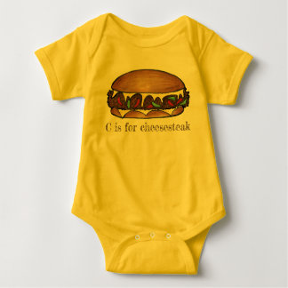 C is for Cheesesteak Philly Cheese Steak Sandwich Baby Bodysuit