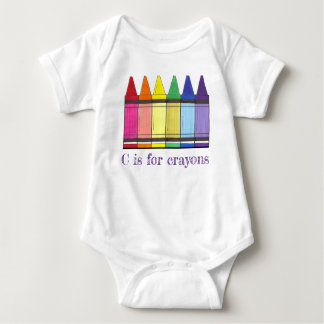 C is for Crayons Rainbow Art Crayon Coloring Baby Bodysuit