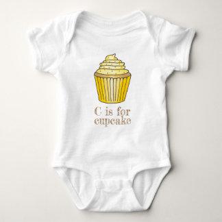 C is for Cupcake Yellow Lemon Sprinkles Letter C Baby Bodysuit