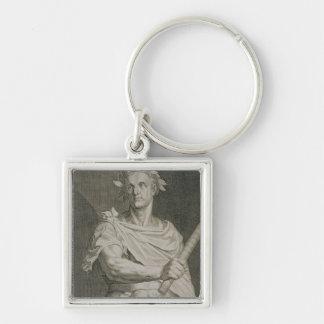 C. Julius Caesar (100-44 BC) Emperor of Rome engra Silver-Colored Square Key Ring