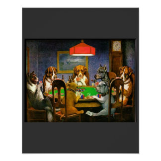 C. M. Coolidge Dogs Pets Poker Cards Humor Destiny Poster