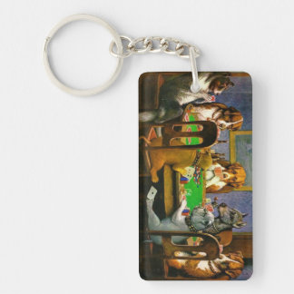 C.M. Coolidge Dogs Playing Poker Key Chain