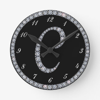 C Monogram bling ring clock