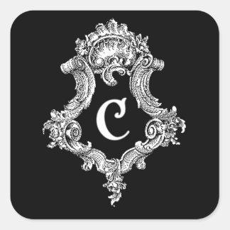 C Monogram Initial Square Sticker