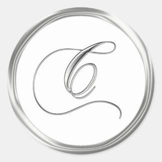 C Monogram Letter Sliver On White Wedding Seal Round Sticker