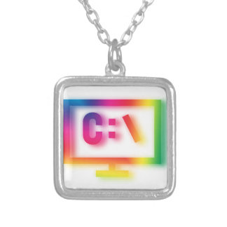 C:\ Nerds and Geeks Rejoice ! Silver Plated Necklace