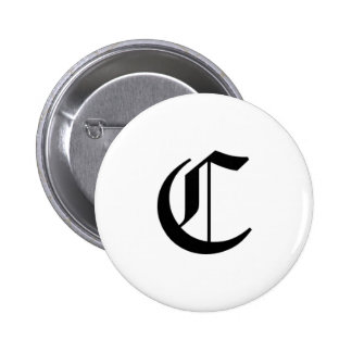 C-text Old English Pinback Button
