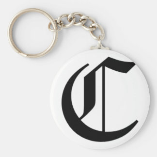 C-text Old English Basic Round Button Key Ring