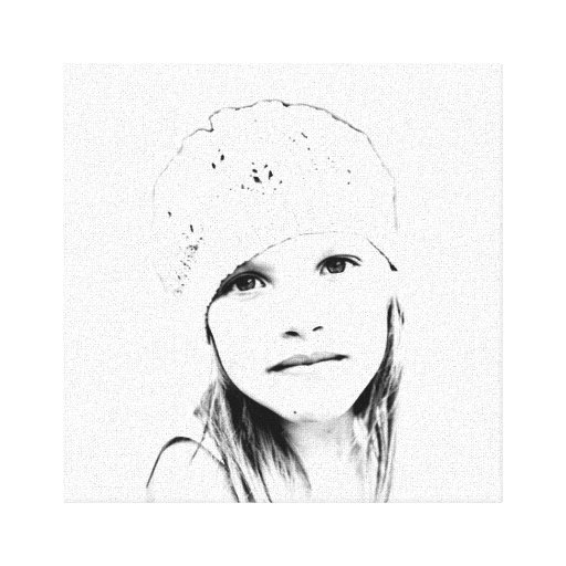 C Vector in Black and White Gallery Wrapped Canvas
