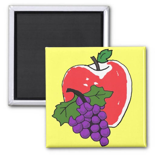 CA- Apple and Grapes Kitchen Magnt Fridge Magnets