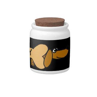 CA- Funny Dachshund Pet Treats Jar Candy Dishes