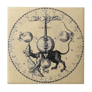 Cabala Emblem Mandala Small Square Tile