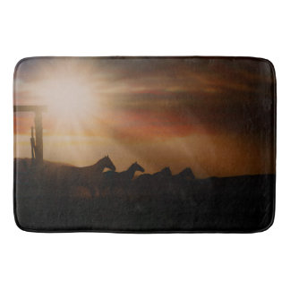 Caballo Sunset Bath Mat Western Horse