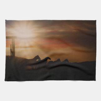 Caballo Sunset Kitchen Towel Western Horse