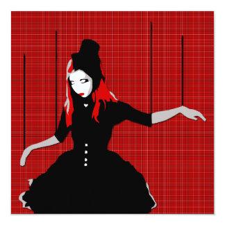 """cabaret marionette 5.25"""" square invitation card"""
