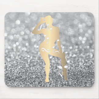 Cabaret Musical Dance Girl Glitter Silver Gray Mouse Pad