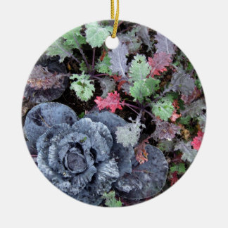Cabbage and Kale - Photograph Round Ceramic Decoration
