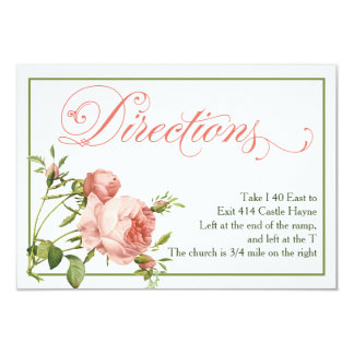 Cabbage Rose Wedding Directions Details Card