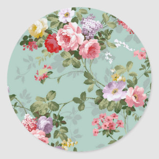 Cabbage Roses on Pale Blue Classic Round Sticker