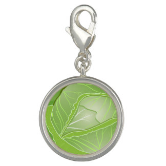 Cabbage Round Charm, Silver Plated