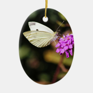 Cabbage White Butterfly Ceramic Ornament