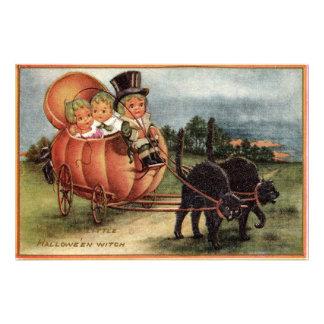 Cabbagehead Pumpkin Carriage Black Cat Art Photo