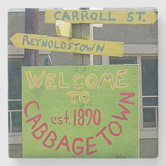 Cabbagetown Welcome Marble Stone Coaster. Stone Coaster