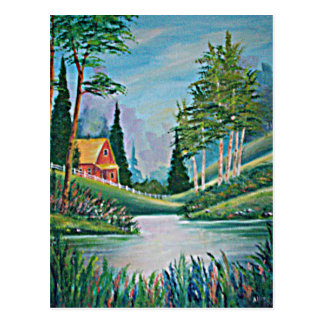 Cabin by the Stream Oil Painting Postcard