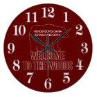 Cabin Established Date Woodland Bear in Red Large Clock