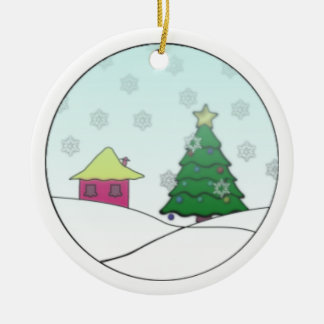 Cabin in Christmas Round Ceramic Decoration