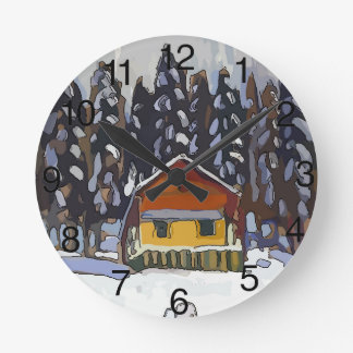 Cabin In Snow Round Clock