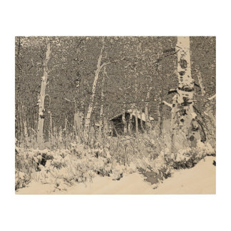 CABIN IN THE ASPEN TREES WOOD WALL ART