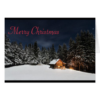 Cabin in the Mountains Christmas Card