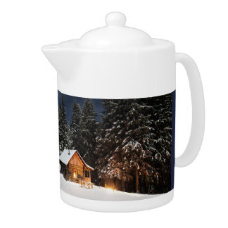 Cabin in the Mountains Tea or Coffee Pot