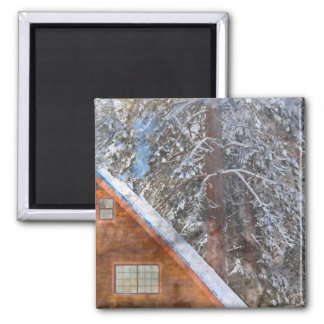 Cabin in the Snow Square Magnet
