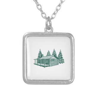 Cabin in the Woods... Silver Plated Necklace