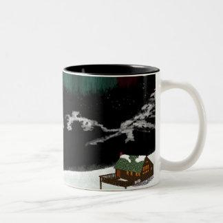 Cabin, mountains, aurora Two-Tone coffee mug