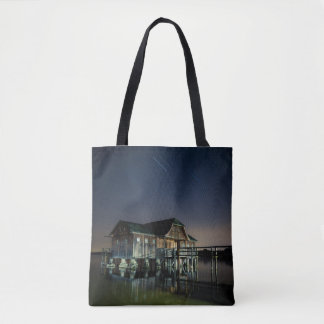 Cabin On The Lake At Night Tote Bag