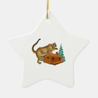 Cabin Pounce Ceramic Ornament