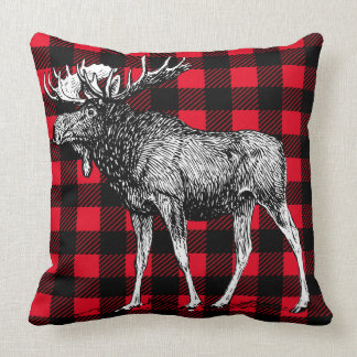 Cabin Rustic Moose Red Buffalo Plaid Cushion