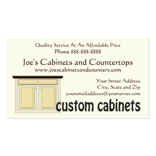 Cabinet Countertop Remodeling Business Card