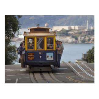 Cable car chugs up Hyde Street in San Postcard
