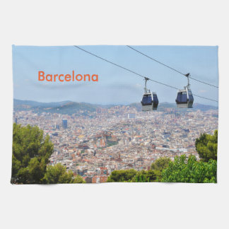 Cable cars (funiculars) in Barcelona Kitchen Towels