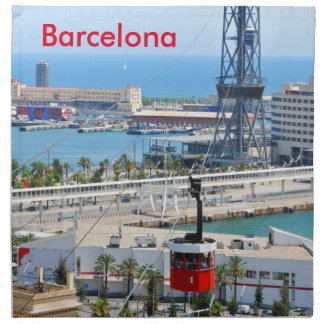 Cable cars (funiculars) in Barcelona Napkin