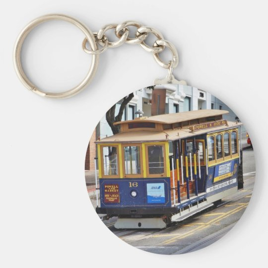 Cable Cars In San Francisco Basic Round Button Key Ring