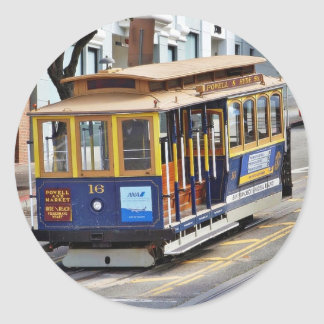 Cable Cars In San Francisco Round Sticker