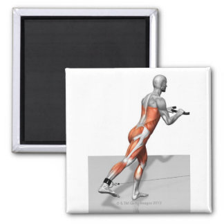 Cable Skater Exercise Square Magnet