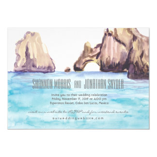 Cabo Mexico Watercolor Wedding Invite